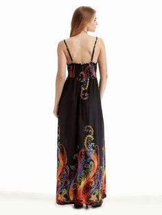 435d3ed9a96 Summer Women Strap Printed Backless Beach Party Maxi Dress Strandparty