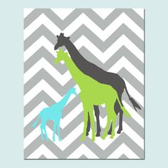 Giraffe Family - 8x10 Chevron Zig Zag Print - Modern Nursery - Kids Wall Art - Boy or Girl - Choose Your Colors on Etsy, $20.00