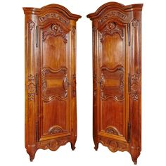 Pair of Louis XV Walnut Encoignures or Corner Cabinets | From a unique collection of antique and modern corner cupboards at https://www.1stdibs.com/furniture/storage-case-pieces/corner-cupboards/