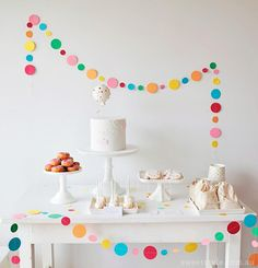 The perfect Party Garland! Sprinkle & Confetti Garland - Spotty Circle Garland in Rainbow of Colours Babyshower Party, Baby Party, Sprinkle Party, Baby Sprinkle, Sprinkle Shower, 4th Birthday Parties, Girl Birthday, Birthday Table, Cake Birthday