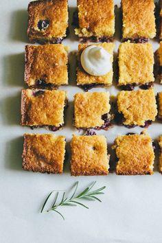 Hummingbird High: Concord Grape Cornbread with Rosemary Whipped Cream
