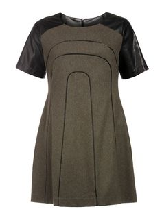 Wool dress with faux leather  in Olive-Green / Black designed by Manon Baptiste to find in Category Dresses at navabi.de
