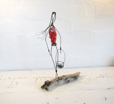 Wire Sculpture Art on Driftwood Original Wire Art by idestudiet, $72.50