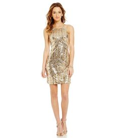 Sequin Hearts Metallic Sequin-Patterned High-Neck Sheath Dress