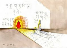 Act II, Scene 1: Satisfaction, In the palace library, huge scrolls of Tibetan text unfurl. Yeshe studies the manuscripts. The king enters singing of his unrequited love but she remains absorbed in study, unmoved. Suddenly, Padma appears in a roar of righteous rage, on fire and formidable. Padma and the king negotiate; servants carry trays with offerings which Padma rejects; the king finally offers Yeshe. She gazes at Padma. In a shower of rose petals, they embrace and retreat together.