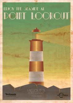 Fallout 3 Point Lookout Art Deco Style Travel Poster Art Print (Point Lookout was creepy to me! Fallout 3, Fallout Posters, Fallout New Vegas, Fallout Theme, Shawarma, Bowls, Point Lookout, Frozen, Art Therapy Projects