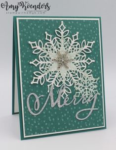 Stamp With Amy K – Page 4 – Amy Koenders, Independent Stampin' Up! Demonstrator in Alpharetta, Georgia (Atlanta)…Let's make some cards!snow is glistening stampin upMerry Snowflakes by - Cards and Paper Crafts at SplitcoaststampersRead all of th Christmas Cards 2018, Stampin Up Christmas, Xmas Cards, Handmade Christmas, Holiday Cards, Christmas Diy, Christmas Decorations, Christmas Projects, Christmas Themes