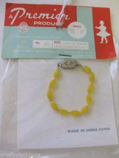 1960's Barbie Size Premier Jewelry Necklace No 343 Orig Pkg Bright Yellow | eBay