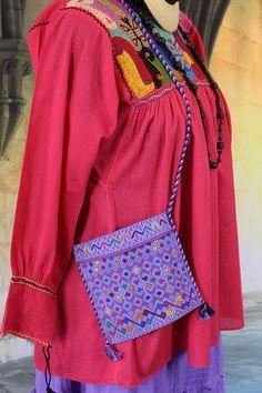 Sm Purple Bag Morral Mayan San Andrés Larrainzar Mexico Hand Woven Hippie Boho #Handmade #MorralHandbag