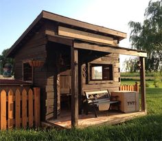 There are plenty of plans on the Internet for making an outdoor playroom - or fort - but this one needed to be bigger and better. The design is stronger than most other plans you will find, and has a western feel - built to look like a fort. http://www.home-dzine.co.za/diy/diy-kids-fort.htm