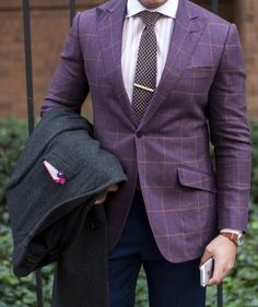 31e2b18f2e Purple windowpane sports coat w peak lapels and slanted pockets