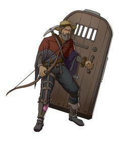 m npc Half Elf Miner Lt Armor Longbow Door Shield ArtStation d&d RPG Character by Ernesto Irawan med Dungeons And Dragons Characters, D D Characters, Special Characters, Fantasy Characters, Fantasy Character Design, Character Drawing, Character Concept, Character Inspiration, Character Ideas