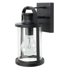 View the Globe Electric 43532 11.5 inch Outdoor Wall Lantern Light Fixture with Clear Glass Shade at LightingDirect.com.