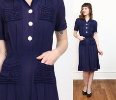 Hey, I found this really awesome Etsy listing at https://www.etsy.com/listing/501488051/sale-1930s-navy-dress-blue-shirtwaist
