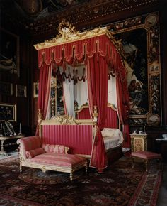 A State Bedroom at Burghley House near Stamford, Lincolnshire, England
