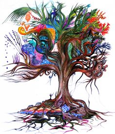 Exactly the next tattoo I want Tree of Life - Colored pencil drawing By Bracha Lavee Fantasy Kunst, Fantasy Art, Pencil Drawings, Art Drawings, Tree Of Life Artwork, Tree Tattoo Designs, Tattoo Tree, Desenho Tattoo, Jewish Art