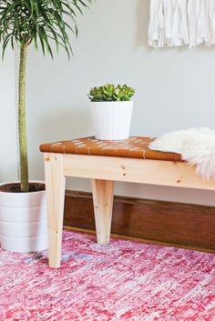 DIY leather bench using IKEA bench