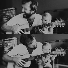 The baby is biting the guitar! Babies can get away with doing hilarious stuff and looking adorable. :)