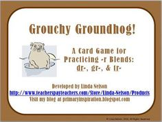 Grouchy Groundhog free printable: a card game to review those tricky -r blends