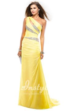 lime ruched chiffon one shoulder prom dress with beaded bodice