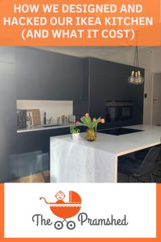 Here it is - the lowdown and all the details about how we designed and hacked our IKEA kitchen to make it a bespoke black kitchen with stylish and contemporary kitchen island #interiordesign #kitchendesign #kitchen #blackkitchen #kitchenextension