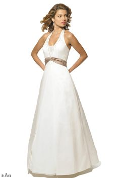 Matte satin halter a-line bridesmaids gown with chiffon inserts on the skirt and the bust. The halter neckline is lined with beading. A pleated band with broach is located near the waist.
