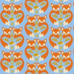 Fox Print Light Blue fabric by boredinc on Spoonflower - custom fabric