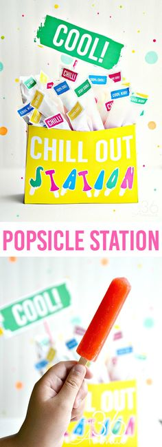 Turn a popsicle box into a refreshing Chill Out Station with these fun printables. Such a cool idea for pool and birthday parties.
