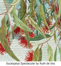 Quilt artwork by Ruth de Vos - Media - Quilting Daily Thread Painting, Fabric Painting, Fabric Art, Landscape Art Quilts, Landscapes, Voss, Decorative Leaves, Flower Quilts, Tree Quilt