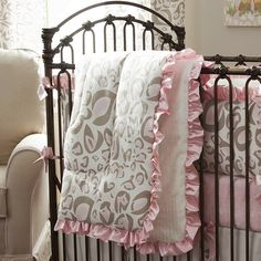 Pink and Taupe Leopard Crib Comforter with Ruffle | Carousel Designs