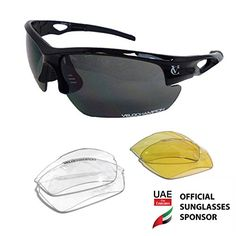 VeloChampion Tornado Cycling Running Sports Sunglasses  Black with 3 Sets of Interchangeable Lenses and Soft Carry Pouch *** Want to know more, click on the image.
