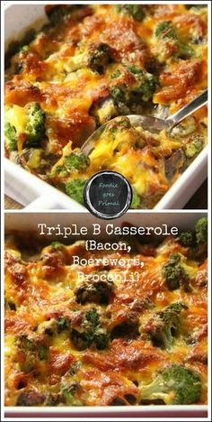 I call it the 'Triple B Casserole' – Bacon, Boerewors & Broccoli. It's super quick and easy to make, and in my opinion, perfect for a Monday. Entree Recipes, Meat Recipes, Paleo Recipes, Cooking Recipes, What's Cooking, Yummy Recipes, Broccoli Bake, Broccoli Casserole, Casserole Recipes