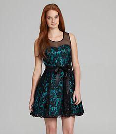 Hailey Logan Illusion-Neck Lace Dress