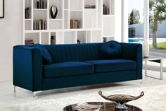 Shop Meridian Furniture Isabelle Navy Velvet Sofa with great price, The Classy Home Furniture has the best selection of Sofas to choose from Blue Sofa Set, Furniture, Chesterfield Sofa, Meridian Furniture, Dark Blue Sofa, Sofa Upholstery, Modern Furniture Living Room, Living Room Sets, Usa Furniture