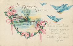 Vintage Early Easter Postcard Near Mint Stecher Lith Card Co 1214 C Vintage Cards, Vintage Images, Vintage Labels, Vintage Pictures, Bird Poems, Rose Garland, Easter Wishes, Easter Art, Easter Ideas