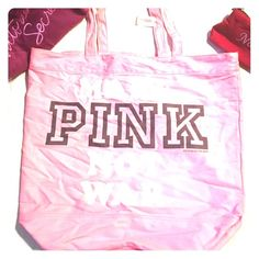 "Bags Victoria's Secret ""Pink"" collection bag. Great for the gym or just a weekend at a friend's house. The bag is pink and says, ""Make PINK not war"". All letters are white except the word ""pink"" which is written in black. Absolutely NEVER used & still has tag on handle. Victoria's Secret Bags Totes"