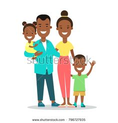 Flat black Family with children vector characters illustration. Mother father with baby son and daughter. Wife husband, brother and sister. Woman, man, girl, boy. African american parenting concept.