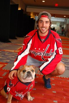 Mathieu Perreault and Ovie the Bulldog