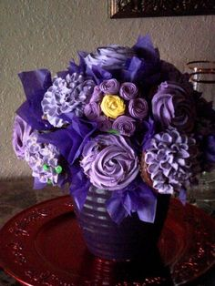 Purple Cupcake Bouquet By bambi23 on CakeCentral.com