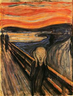 Edvard Munch, The scream. He painted this to indicate how it felt to have a panic attack.