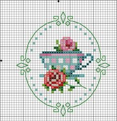 I would love to had some spicy quote under that lovely cup. Small Cross Stitch, Cross Stitch Kitchen, Cross Stitch Cards, Cross Stitch Rose, Cross Stitch Flowers, Cross Stitch Designs, Cross Stitching, Cross Stitch Embroidery, Embroidery Patterns