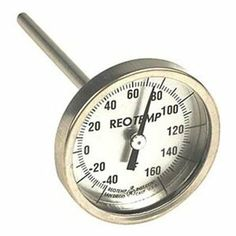 Bimetal Therm, 2-3/8 In Dial, -40to160F by REOTEMP. $42.88. Heavy Duty Soil. Soil Dial Thermometer, Bimetal, Dial Size 2-3/8 In., Connection Size Plain Bushing, Connection Location Back, Stem Length 6 In., Temp. Range (F) -40 Degrees to 160 Degrees Accuracy +/-1 Percent, Stem Dia. 1/4 In.Case Material 300 Series Stainless Steel, Stem Material 304 Stainless Steel, Window Material GlassManufacturers Warranty Length 3 yr.