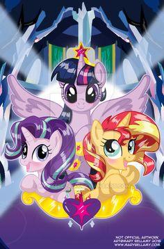 #1124602 - artist:marybellamy, counterparts, obtrusive watermark, princess twilight, safe, starlight glimmer, sunset shimmer, twilight\'s counterparts, twilight sparkle - Derpibooru - My Little Pony: Friendship is Magic Imageboard