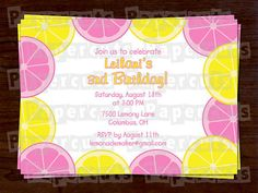 Printable DIY Yellow and Pink Lemon Slices Personalized Theme Birthday Party Invitation Digital File on Etsy, $12.00