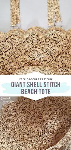 Bag Pattern Free, Crochet Basket Pattern, Crochet Stitches Patterns, Bag Patterns To Sew, Sewing Patterns, Crochet Beach Bags, Crochet Market Bag, Diy Crochet, Crochet Shell Stitch