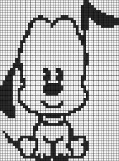 Alpha friendship bracelet pattern added by pluto dog disney cutie mickey cute. Graph Crochet, Filet Crochet, Cross Stitch Rose, Cross Stitch Charts, Gata Marie, Knitting Paterns, Crochet Disney, Minecraft Pixel Art, Christmas Crochet Patterns