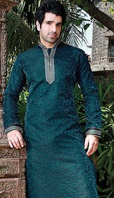 Rama Green Poly Jacquard Kurta