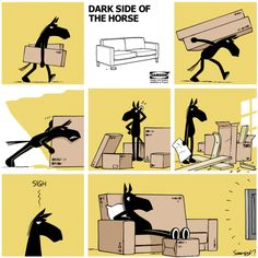 Dark Side of the Horse by Samson Monday, October 2014 Funny Animal Comics, Funny Comics, Funny Animals, Funny Horses, Comic Strips, Dark Side, Peanuts Comics, How To Draw Hands, History