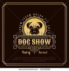 Gold dog.Vintage logo, emblem, label, badge design elements - stock vector