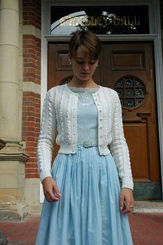 Feminine white knit sweater over blue dress. | Modest style | Modest Apparel | Classic |